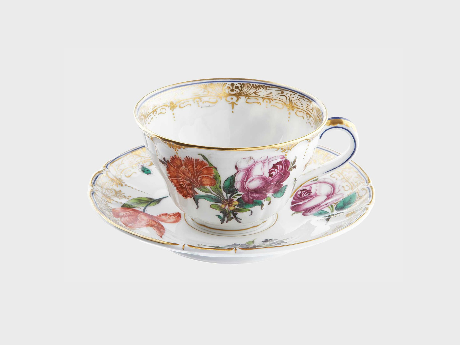 Cumberland Porcelain, Hand painted Coffee Cup and Saucer