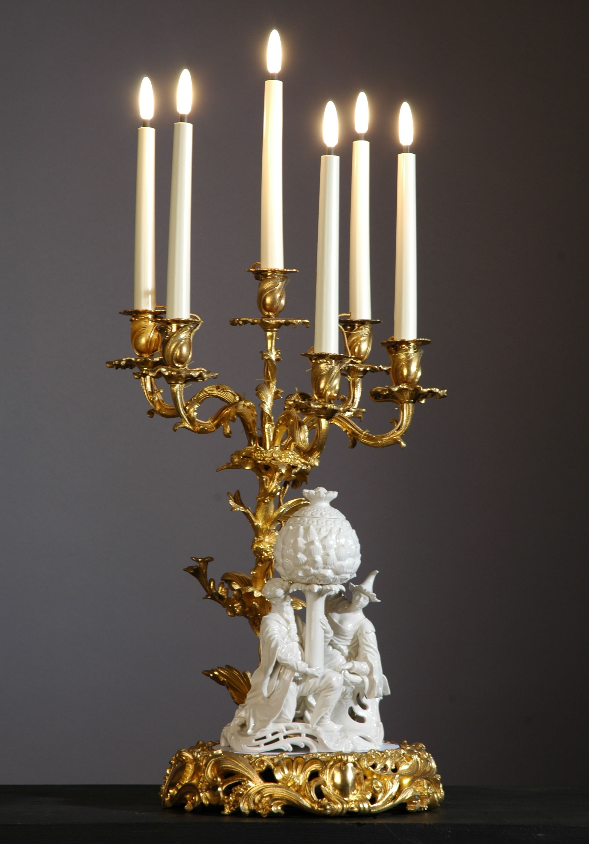Candelabra with Chinese group porcelain