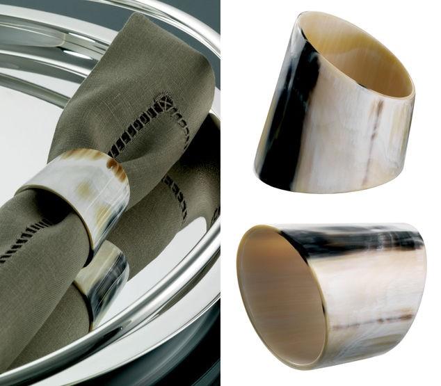 Oval napkin ring in horn