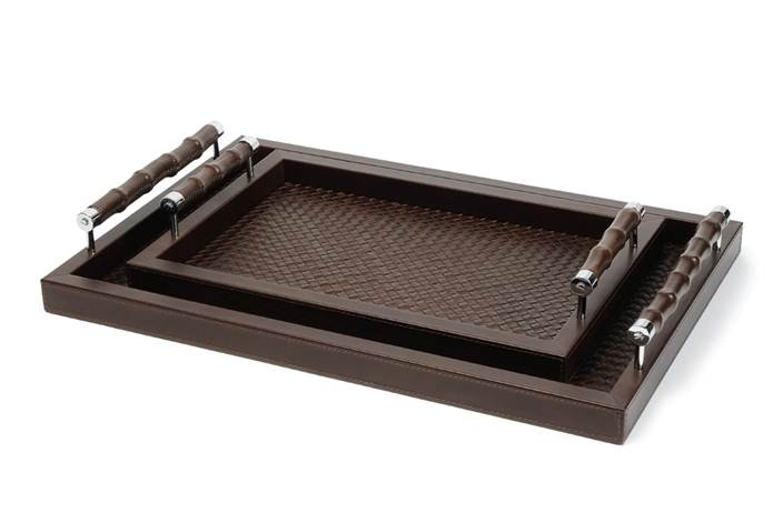 Leather tray, hand woven leather lining, leather covered bamboo handles, large