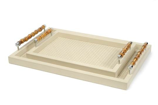 Leather tray, handwoven leather lining, bamboo handles, small