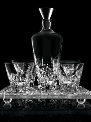 Crystal tray, Glasses and Decanter