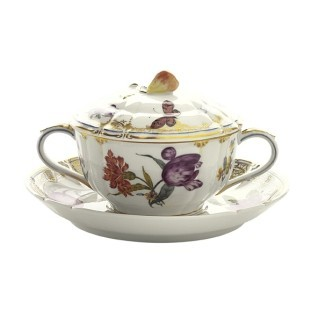 Cumberland Porcelain, Hand painted Soup Cup and Saucer and Lid