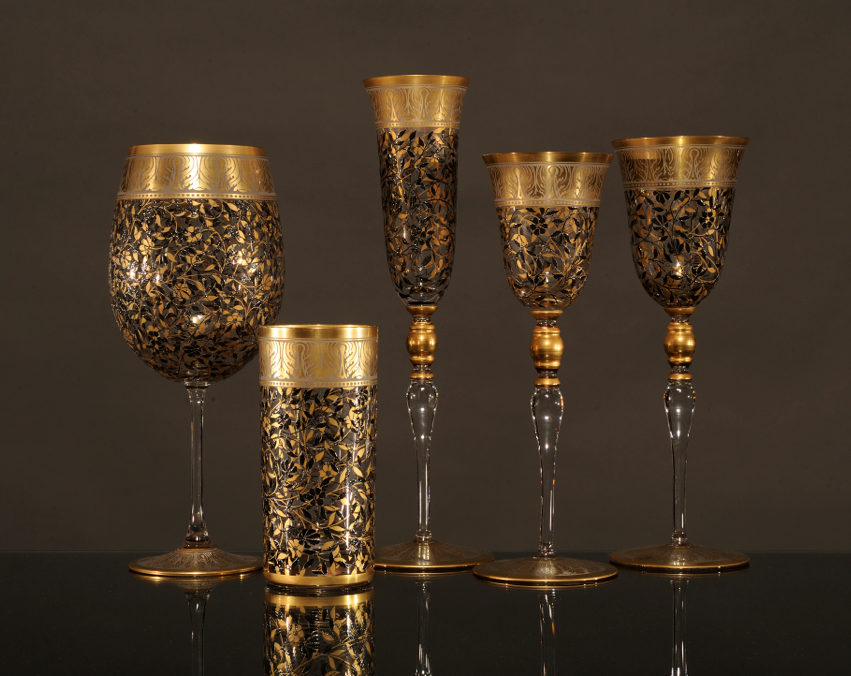 Jardin De Paul, Tall Goblet with gold Leaf