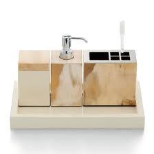 Dispenser in horn, ivory lacquer and chromed brass